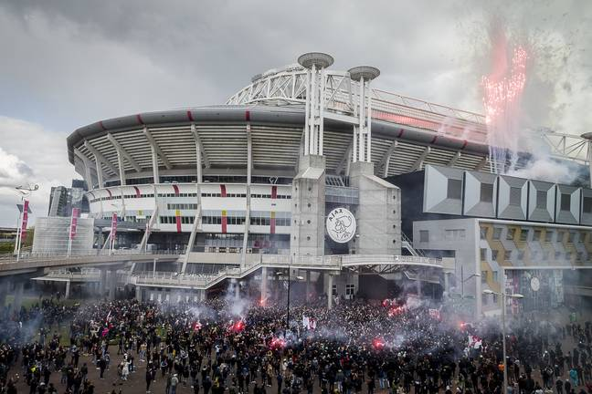 The fans celebrate outside the stadium. Image: PA Images