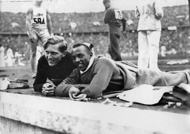 Lutz Long and Jesse Owens pictured in 1936. Credit: IOC
