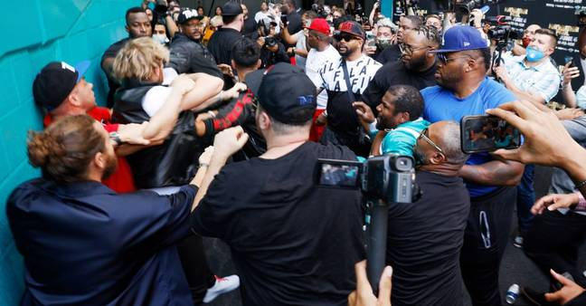 The situation descended into chaos at the press conference on Thursday