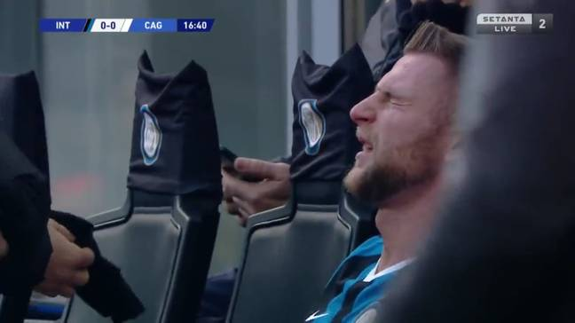 Milan Skriniar was brought off during the Cagliari game due to illness. Image: Setanta Live