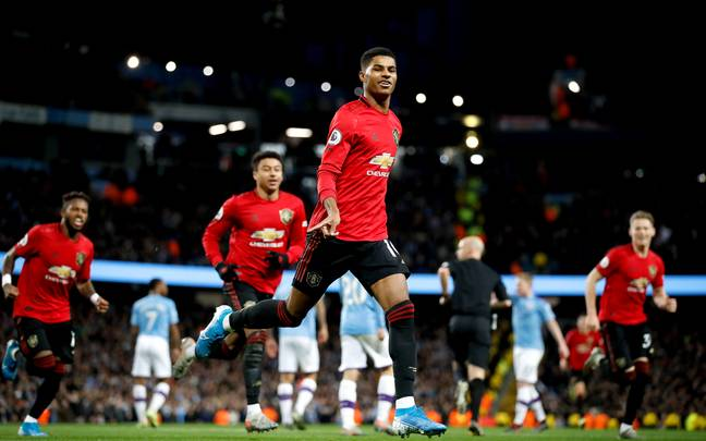 Marcus Rashford celebrates as United beat City in the league. Image: PA Images