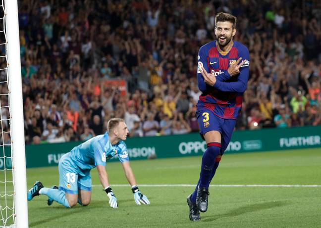Gerard Pique also got on the score sheet for Barcelona at the Nou Camp