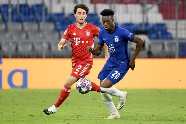 Hudson-Odoi playing against Bayern in the Champions League. Image: PA Images
