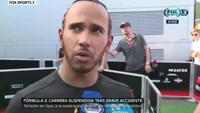 Hamilton was being interviewed live on air when he witnessed the crash. Credit: Fox Sports 3