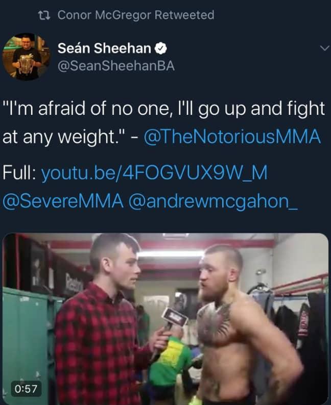 McGregor retweeting the comments.