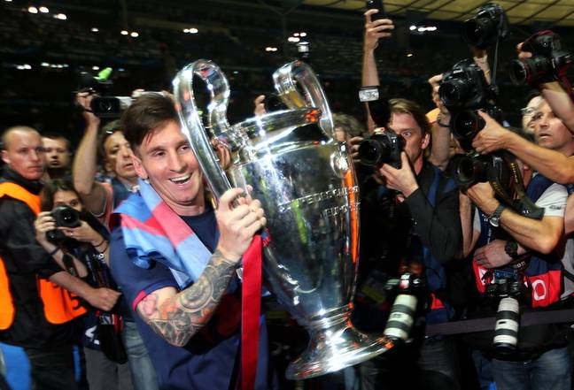 Messi with the Champions League trophy. Image: PA Images