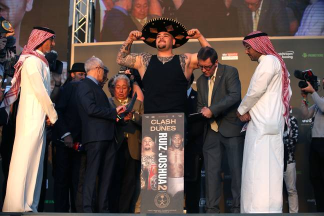 Ruiz wore a sombrero and vest to cover up his weight gain. Image: PA Images