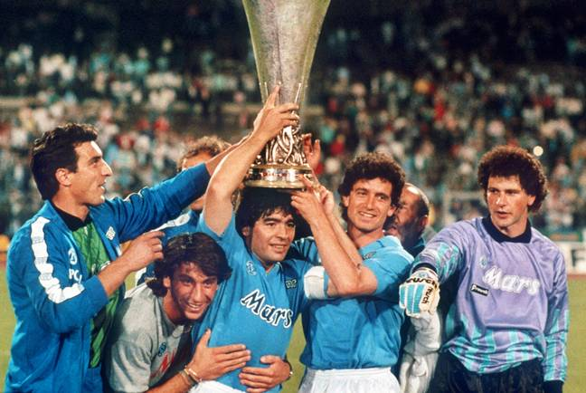 Maradona won the UEFA Cup, two Serie A titles and the Coppa Italia in Naples. Image: PA Images