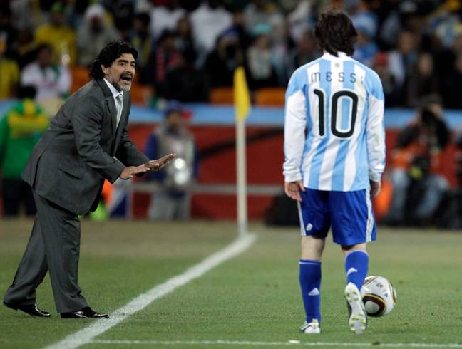 Maradona managed Messi for Argentina. Image: PA Images
