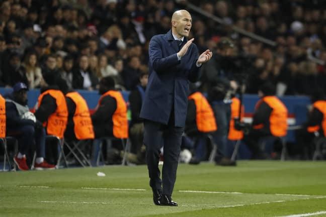 Zidane on the touchline at PSG. Image: PA