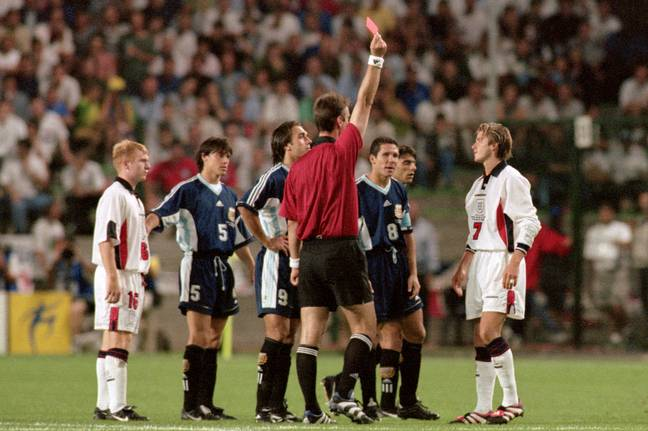 Beckham's altercation with Simeone that led to the red card. Image: PA Images