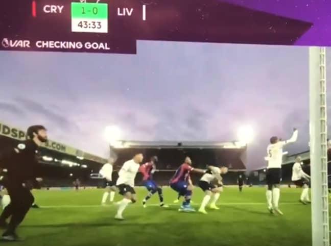 Jordan Ayew pushed Dejan Lovren, and VAR disallowed the Crystal Palace goal