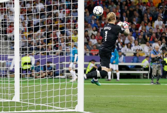 Karius attempts to grab the ball. Image: PA
