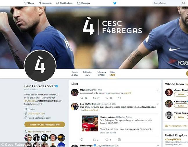 Fabregas' faux pas shows up on his liked tweets list. Image: Daily Mail