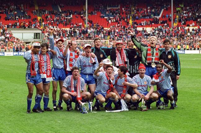 United celebrate the Rumbelows Cup in the original version of the kit. Image: PA Images