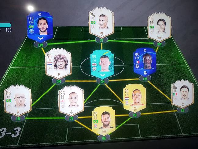 Foden's Ultimate Team featuring his own 99 rated card.