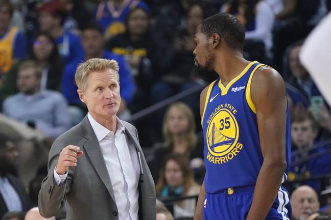 Steve Kerr and Kevin Durant. Credit: PA