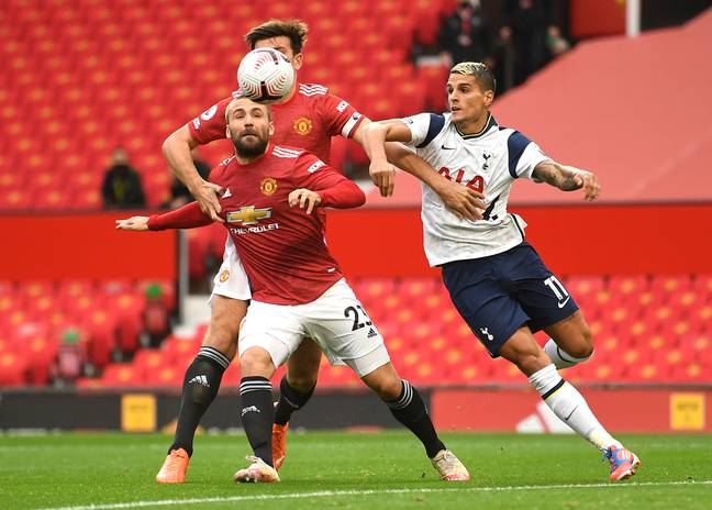 Maguire and Shaw struggled against Spurs. Image: PA Images