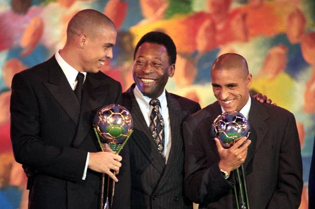 Ronaldo, along with Pele and runner up Roberto Carlos, with his 1997 award. Image: PA Images