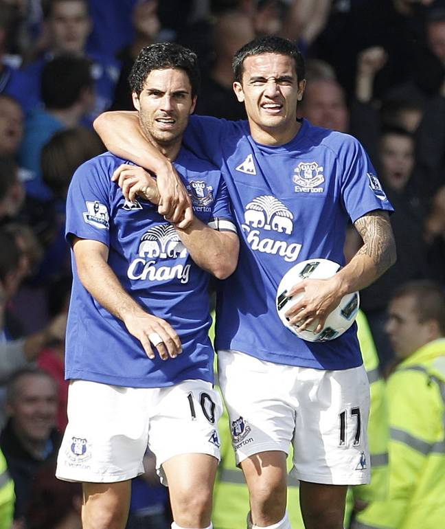 Arsenal manager Mikel Arteta and Sky Sports pundit Tim Cahill during their time at Everton. Credit: PA