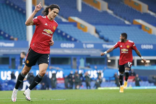 Cavani celebrates his first goal for United. Image: PA Images