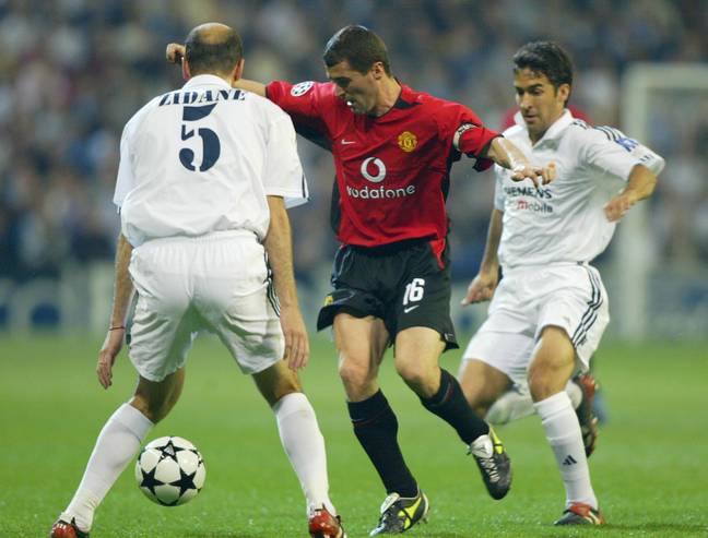 Zidane and Raul battle Roy Keane during their playing days. Image: PA Images