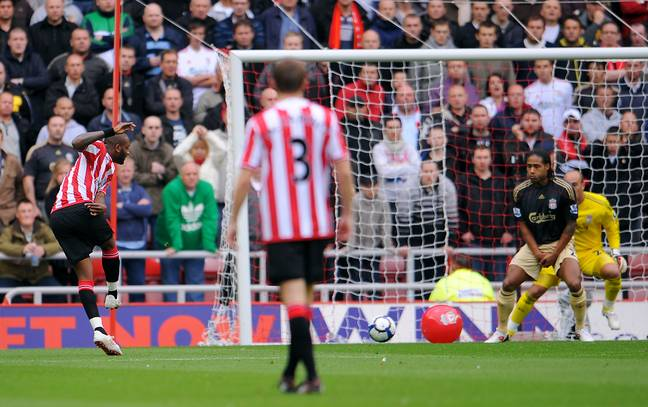 Darren Bent struck the ball towards goal in the direction of a beach ball in the penalty area