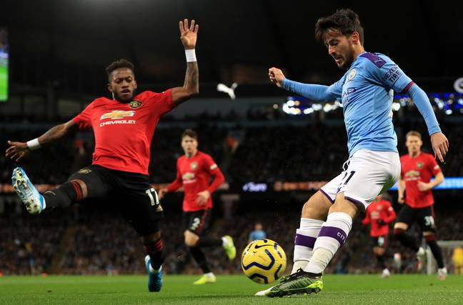 Silva on the ball against Manchester United. Image: PA Images