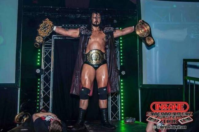 McIntyre with a host of titles during his incredible independent run. Image: ICW