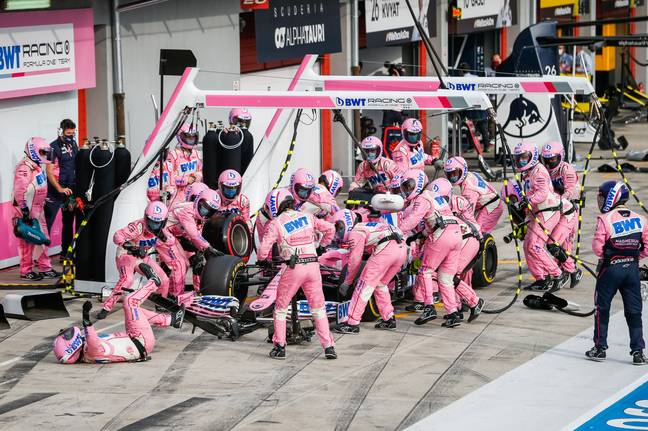 Lance Stroll even knocked over a pit crew member later in the race. Credit: PA