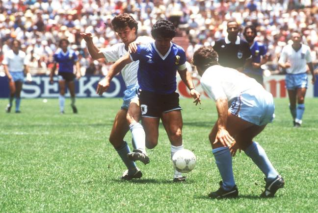 Maradona in action against England at the 1986 World Cup. (Image Credit: PA)