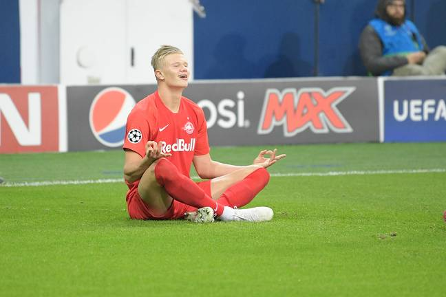 Haaland celebrates after scoring against Napoli. Image: PA Images