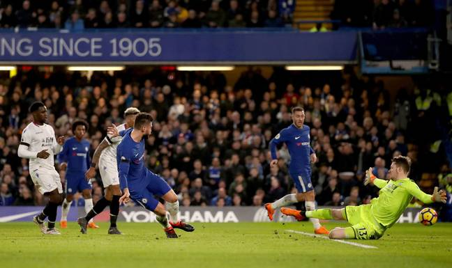 Giroud in action for Chelsea. Image: PA