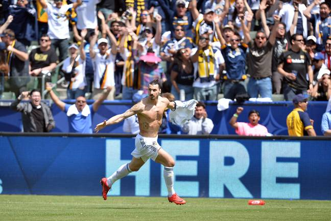 Ibra celebrates his first goal for Galaxy. Image: PA Images