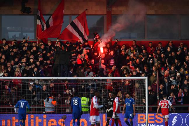 Fleetwood fans were loving life as they drew 0-0 with Leicester. Image: PA Images.