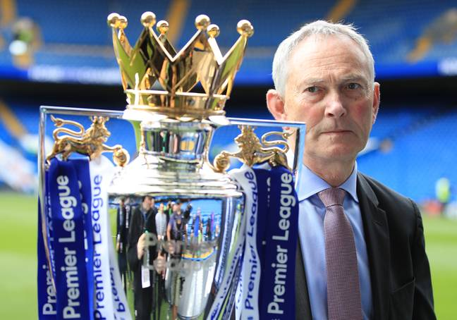 Scudamore with the Premier League trophy. Image: PA Images
