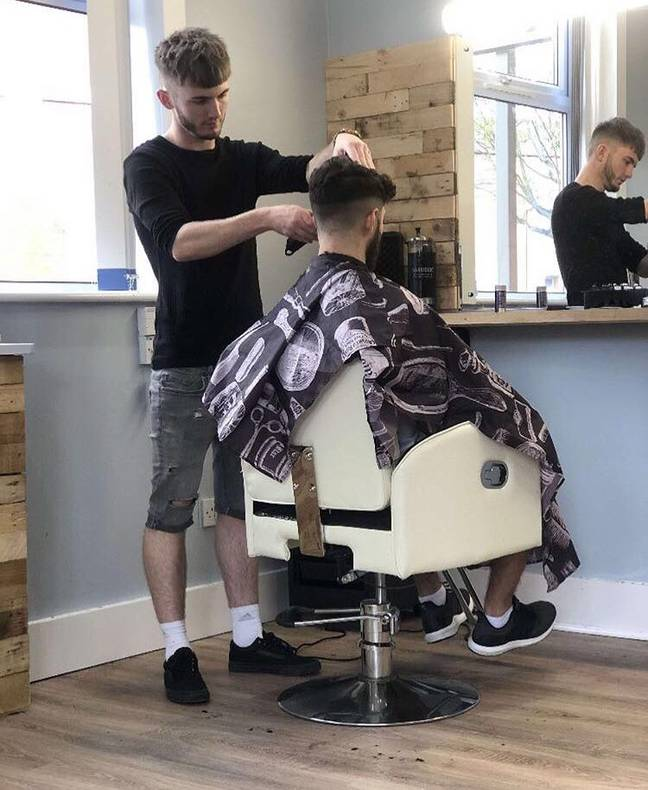 CSF Barbering owner Connor Storer-Fry and one of his customers. Image: CSF Barbering