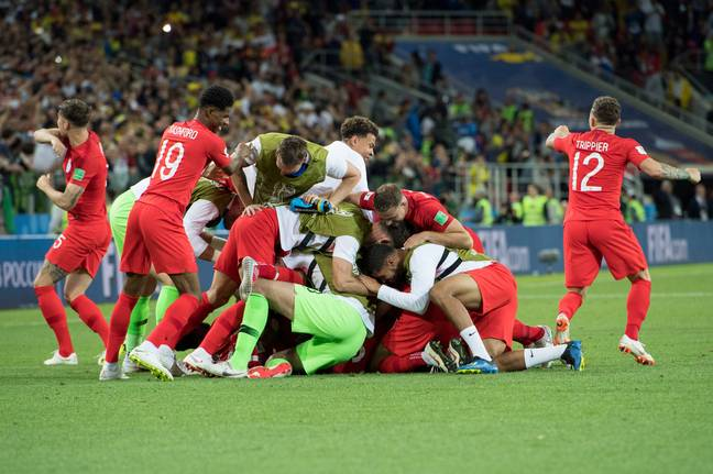 England celebrate winning a penalty shoot-out. Image: PA Images