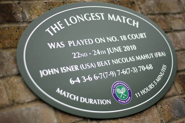 A plaque on Court 18 commemorates the incredible match. Image: PA Images