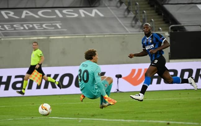 Lukaku scoring in the Europa League semi-final. Image: PA Images