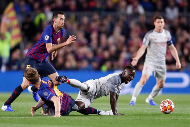 Keita went off after a challenge with Ivan Rakitic. Image: PA Images