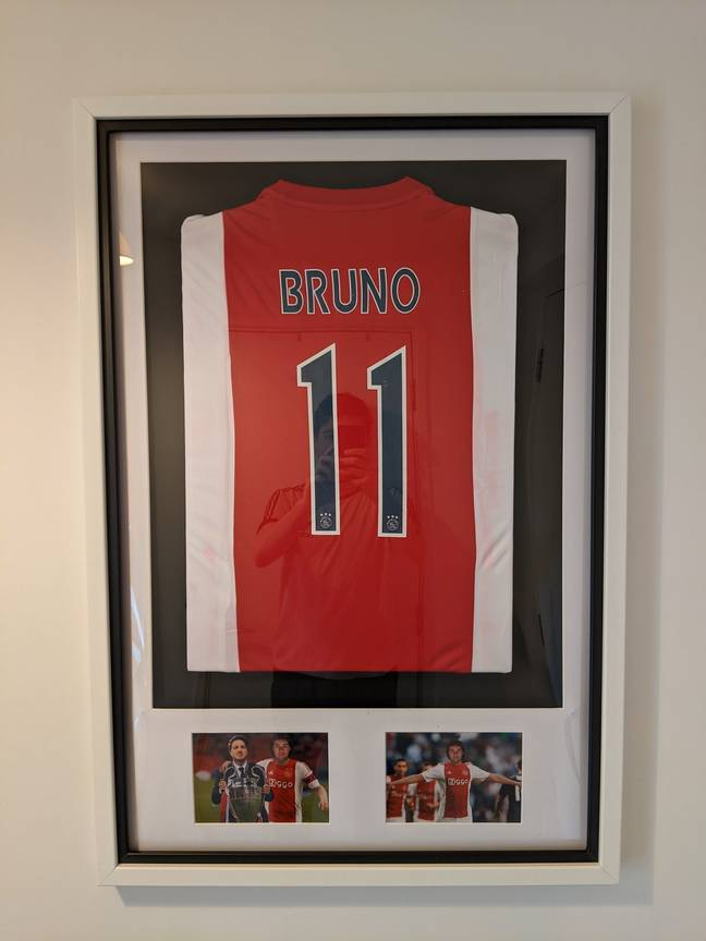 Bruno's number 11 shirt has pride of place in Tom and Natalie's living room and has done so for a number of years.