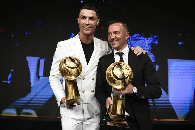 Ronaldo with agent Jorge Mendes. Image: PA Images