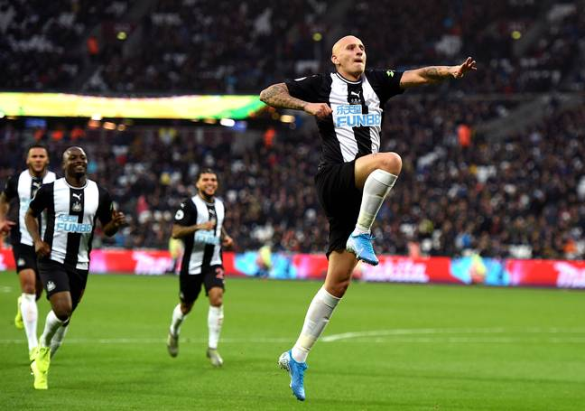 Shelvey celebrates during Newcastle's game at West Ham this season. Image: PA Images
