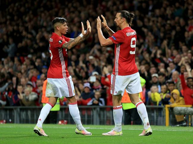 Zlatan and Rojo obviously didn't hold any grudges. Image: PA Images