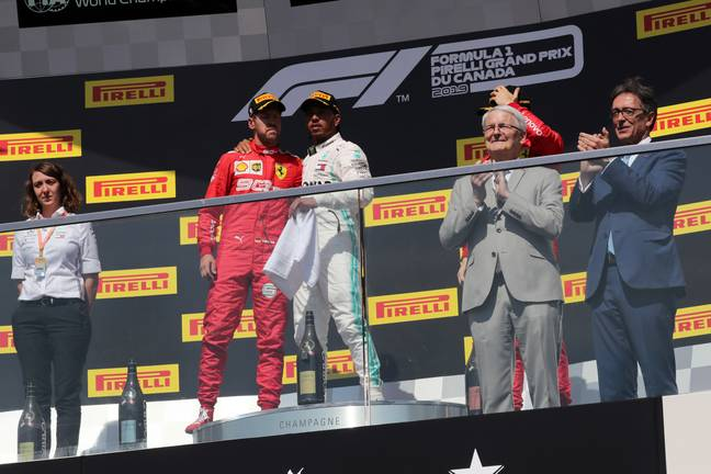 Vettel made his way onto the top step of the podium. Image: PA Images