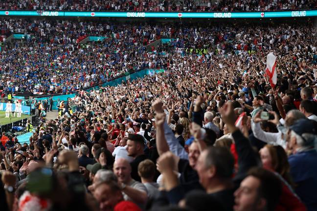 Wembley was fuller during the Euros and fans only needed a negative test 48 hours before the game. Image: PA Images