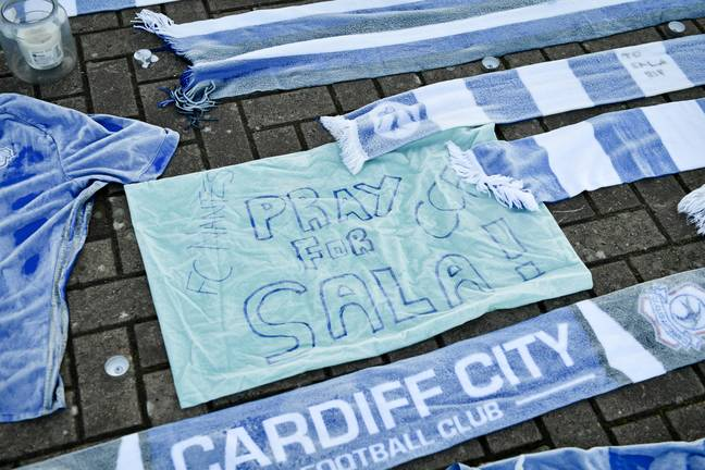 Tributes left outside Cardiff City. Image: PA