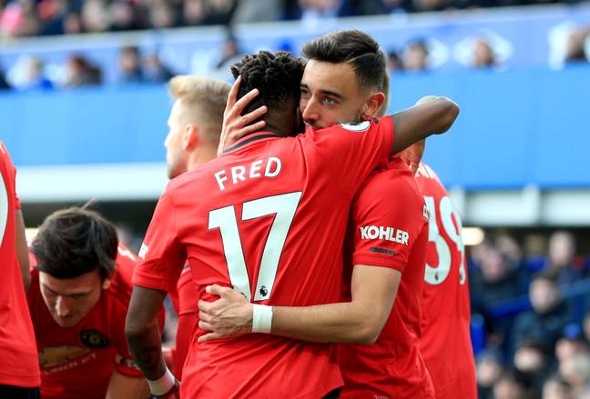 Fred and Bruno Fernandes celebrate together. Image: PA Images