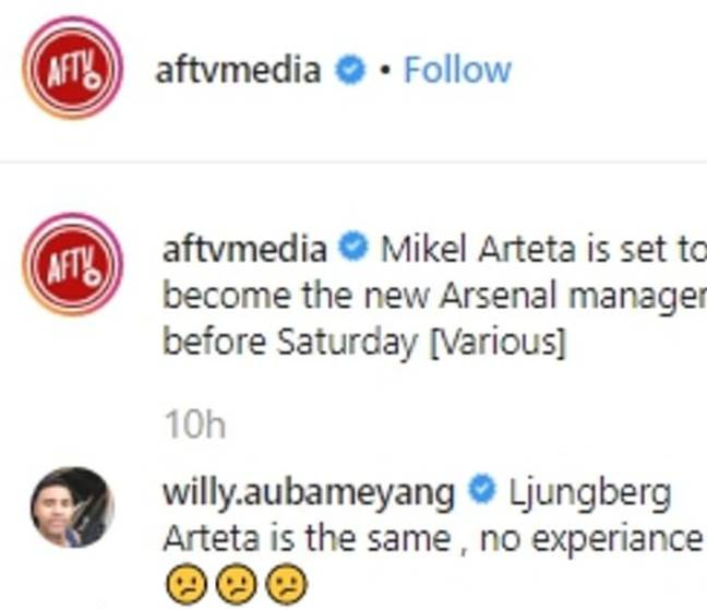 Willy Aubameyang's comment about the potential new hire.